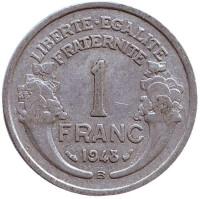 Монета 1 франк. 1948 (В) год, Франция.