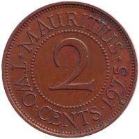 Монета 2 цента. 1975 год, Маврикий.
