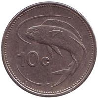 Золотистая макрель. Монета 10 центов. 1998 год, Мальта.