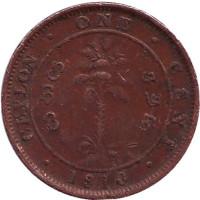 Монета 1 цент. 1910 год, Цейлон.