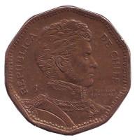 Бернардо О'Хиггинс. Монета 50 песо. 2000 год, Чили.