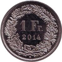 Гельвеция. Монета 1 франк. 2014 год, Швейцария.