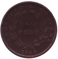 Монета 1/2 цента. 1845 год, Стрейтс Сетлментс.