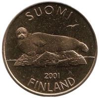 Тюлень. Монета 5 марок. 2001 год, Финляндия. UNC.