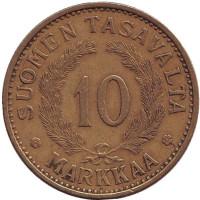 Монета 10 марок. 1935 год, Финляндия. Редкая.