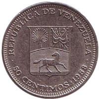 Герб Венесуэлы. Монета 50 сентимо, 1988 год, Венесуэла.