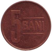 Монета 5 бани. 2007 год, Румыния.