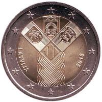 100-летие независимости прибалтийских государств. Монета 2 евро. 2018 год, Латвия.