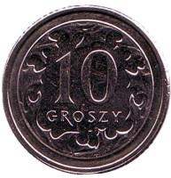 Монета 10 грошей. 2017 год, Польша.