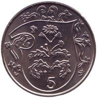 Растение Крестовик. Монета 5 пенсов. 1985 год, Остров Мэн. (AA)