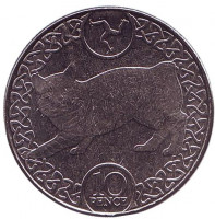 Бесхвостая кошка. Монета 10 пенсов. 2017 год, Остров Мэн.
