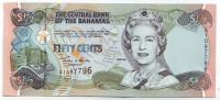 Банкнота 50 центов. 2001 год, Багамские острова.