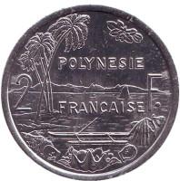 Монета 2 франка. 1991 год, Французская Полинезия.