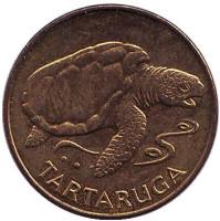 Тартаруга (черепаха). Монета 1 эскудо, 1994 год, Кабо-Верде.