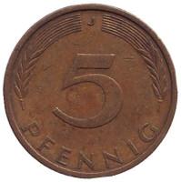 Дубовые листья. Монета 5 пфеннигов. 1972 год (J), ФРГ.