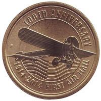 100 лет Первой воздушной почте. Монета 1 доллар. 2014 год, Тувалу.