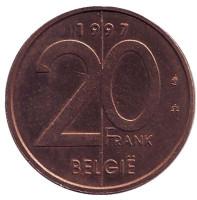 Монета 20 франков. 1997 год, Бельгия. (Belgie)