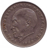 Конрад Аденауэр. Монета 2 марки. 1973 год (J), ФРГ. Из обращения.