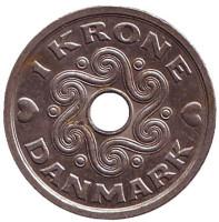 Монета 1 крона. 2006 год, Дания.
