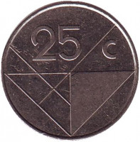 Монета 25 центов. 1999 год, Аруба.