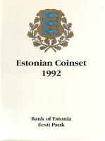 Годовой набор монет Эстонии. (5 шт.), 1992 год.