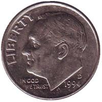 Рузвельт. Монета 10 центов. 1994 (D) год, США.