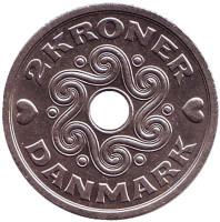 Монета 2 кроны. 1993 год, Дания.