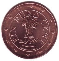 Монета 1 цент, 2014 год, Австрия.