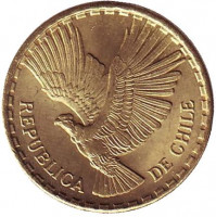 Кондор. Монета 2 чентезимо. 1968 год, Чили.