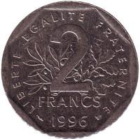 Монета 2 франка. 1996 год, Франция.
