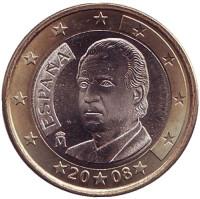 Монета 1 евро. 2008 год, Испания.