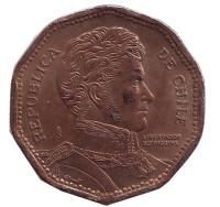 """Бернардо О'Хиггинс. Монета 50 песо. 2008 год, Чили. (Надпись """"R.Thenot"""" )"""