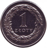 Монета 1 злотый. 2017 год, Польша.