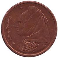 Ласкарина Бубулина. Монета 1 драхма. 1988 год, Греция.