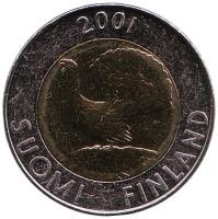Глухарь. Монета 10 марок. 2001 год, Финляндия. UNC.
