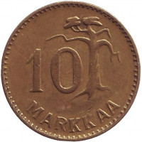 "Монета 10 марок. 1958 год, Финляндия. (Тип 1. ""Маленькая ""1"")"