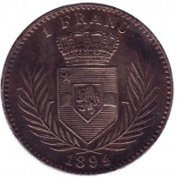 Монета 1 франк. 1894 год, Свободное государство Конго.