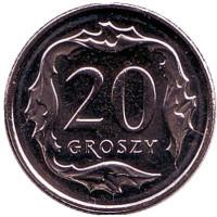 Монета 20 грошей. 2017 год, Польша.