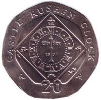 Часы замка Рашен. Монета 20 пенсов. 2007 год, Остров Мэн. (AA)