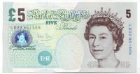 Банкнота 5 фунтов. 2002 год, Великобритания.