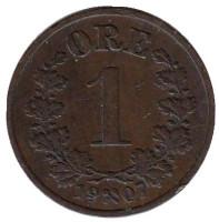 Монета 1 эре. 1907 год, Норвегия.