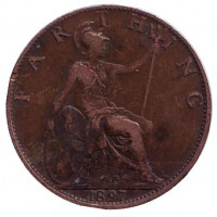 Монета 1 фартинг. 1897 год, Великобритания.