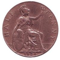 Монета 1/2 пенни. 1924 год, Великобритания.