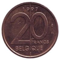 Монета 20 франков. 1997 год, Бельгия. (Belgique)