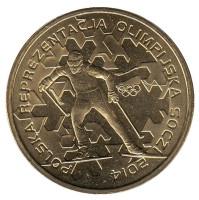 Польская олимпийская сборная в Сочи 2014. Монета 2 злотых. 2014 год, Польша.