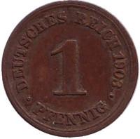 Монета 1 пфенниг. 1903 год (F), Германская империя.