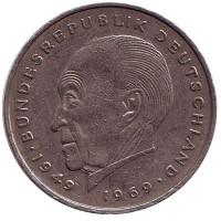 Конрад Аденауэр. Монета 2 марки. 1974 год (G), ФРГ. Из обращения.