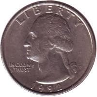 Вашингтон. Монета 25 центов. 1992 (P) год, США.