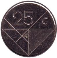 Монета 25 центов. 2001 год, Аруба.