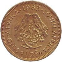 Воробьи. Монета 1/2 цента. 1963 год, ЮАР.